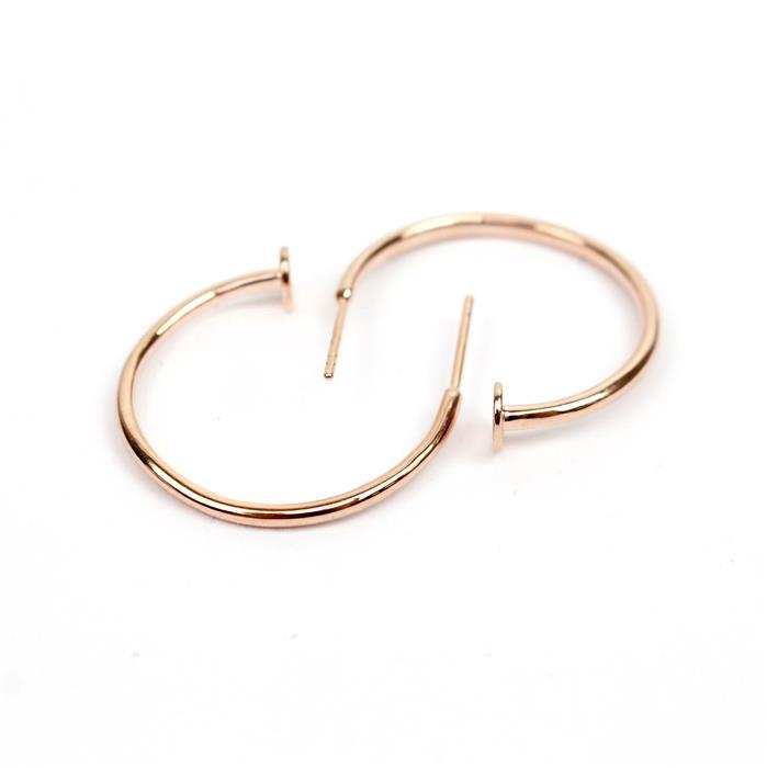 Rose Gold Plated 925 Sterling Silver Hoop Earrings With Stud End Approx 25mm