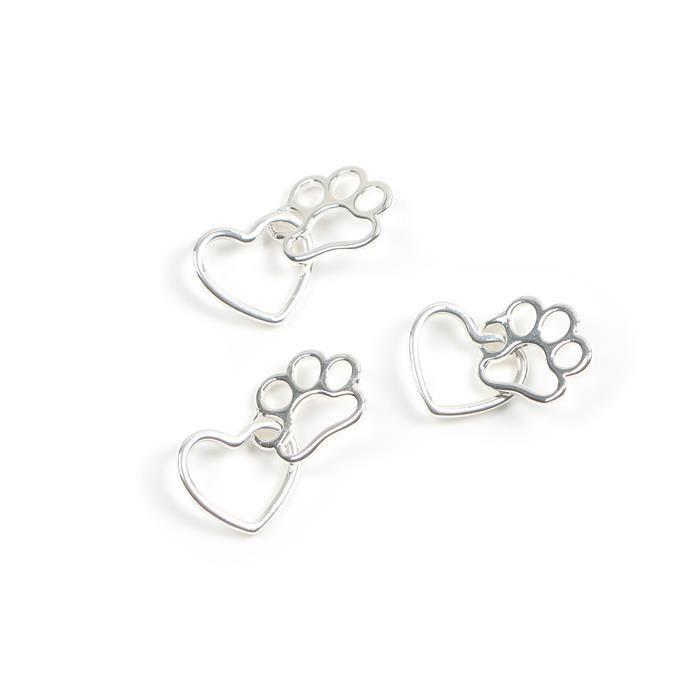 Silver Plated Base Metal Heart&Paw Pendant Approx 14mm & 15x11mm (3pcs)