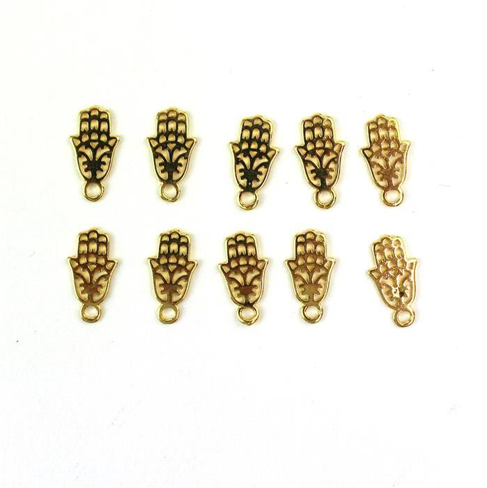 Gold Colour Base Metal Hamsa Charms, Approx15x8mm (10pcs)