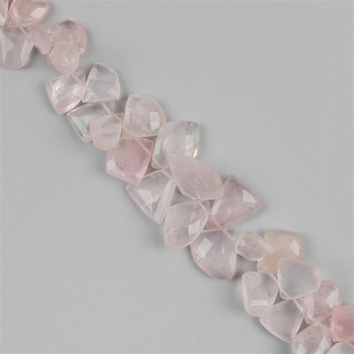 220cts Rose Quartz Graduated Faceted Large Nuggets Approx 10x8 to 19x15mm, 21cm Strand.