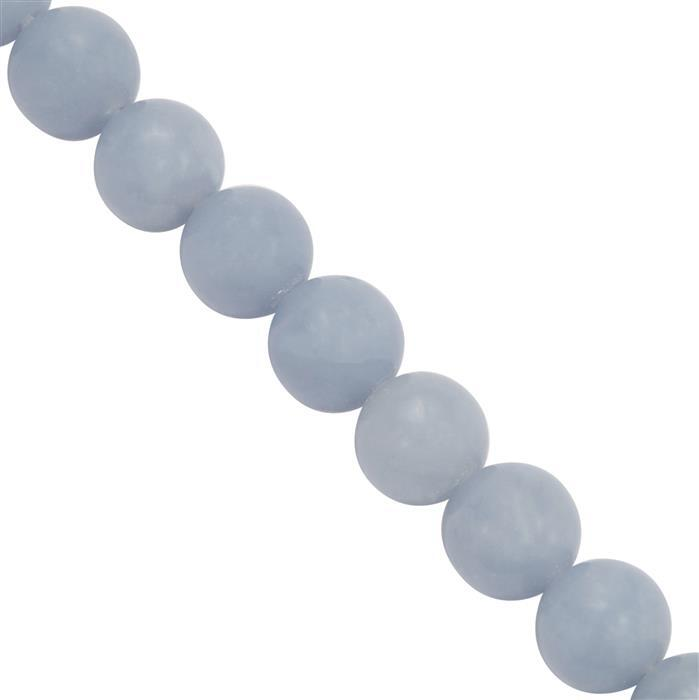 155cts Angelite Plain Rounds Approx 7.5mm, 30Cms Strand