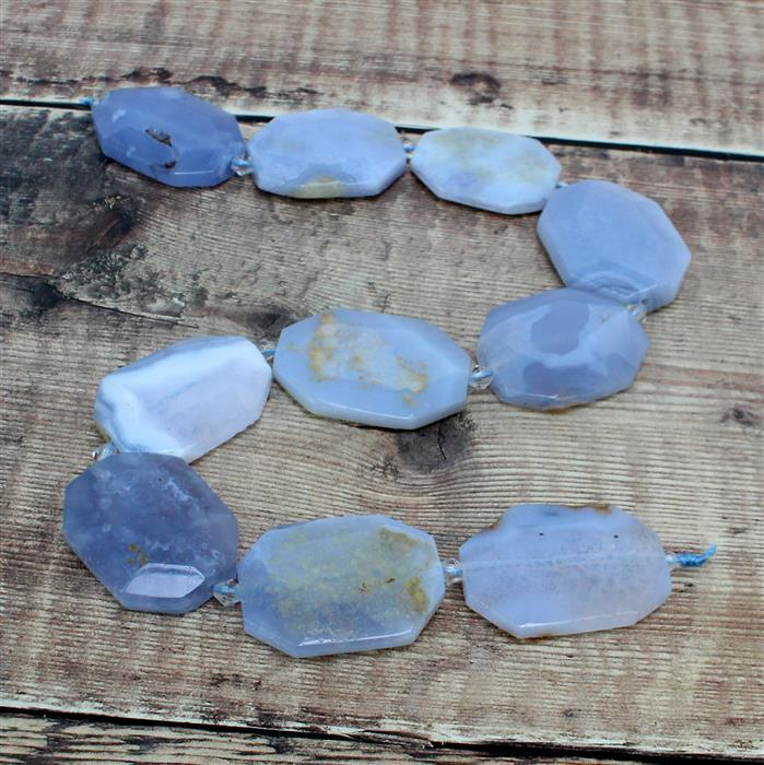 550cts Blue Chalcedony Faceted Slabs Approx 23x35-28x39mm,38cm