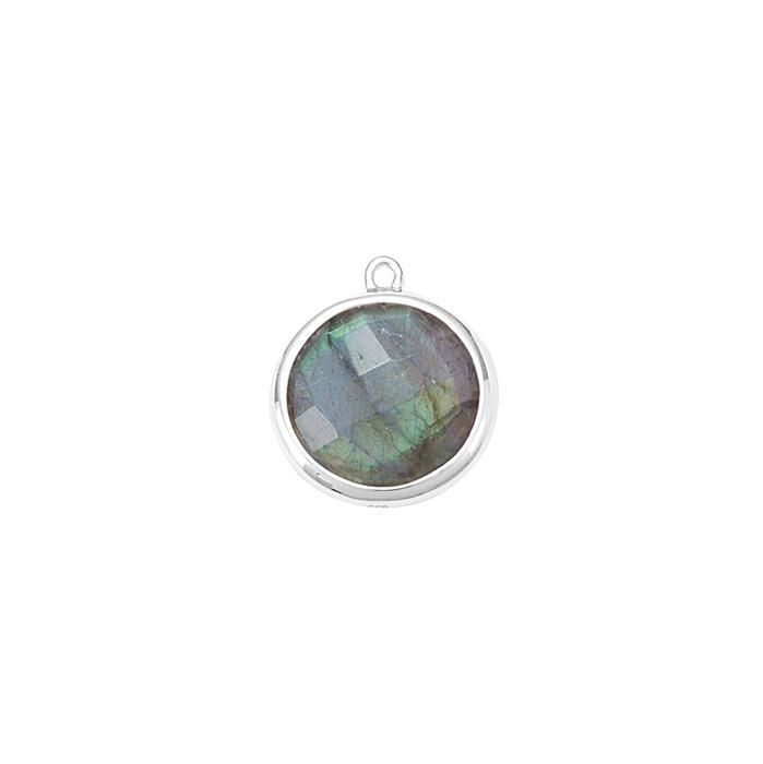 925 Sterling Silver Bezel Pendant Approx 17x15mm Inc. 5.80cts Labradorite Briolette Cut Round Approx 13mm.