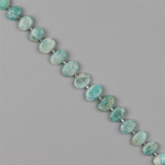 118cts Amazonite Graduated Center Drill Plain Ovals 10x7 to 16x11mm, 18cm Strand.