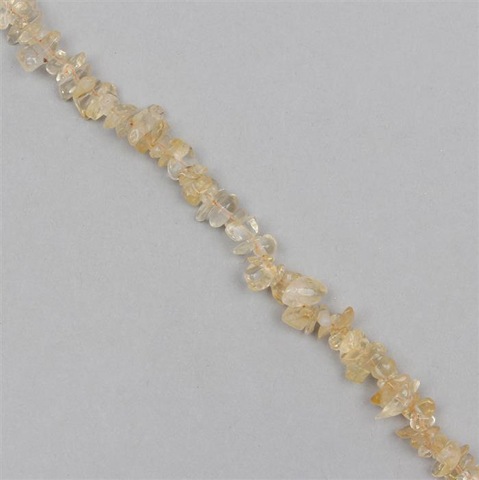 160cts Citrine Plain Small Nuggets Approx 2x1 to 9x2mm, 83cm Strand.