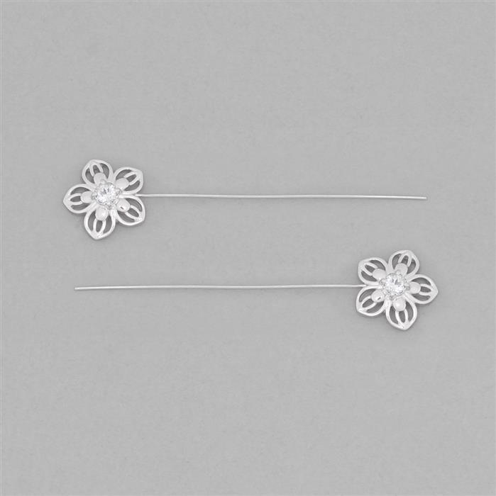 925 Sterling Silver Gemset Fancy Headpin Approx 62x14mm Inc. 0.68cts White Topaz Brilliant Round Approx 4mm, Wire Thickness Approx 0.6mm (2pcs)