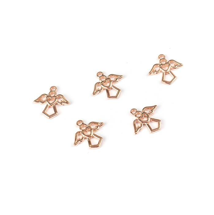 Rose Gold Plated 925 Sterling Silver Angel Charms Approx 9mm 5pk