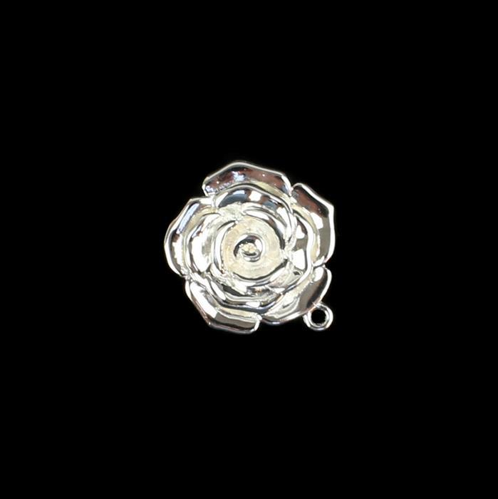 925 Sterling Silver Rose Flower Pendant Approx 20mm, 1pcs