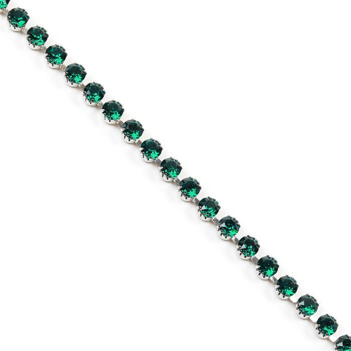 Swarovski Tiffany Cupchain, 27308, Emerald, Rhodium Brushed, SS29, 50cm