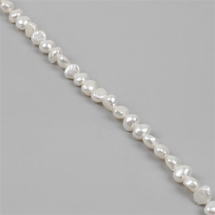 White Freshwater Cultured Pearl Nuggets Approx 6x7 to 7x8mm 40cm