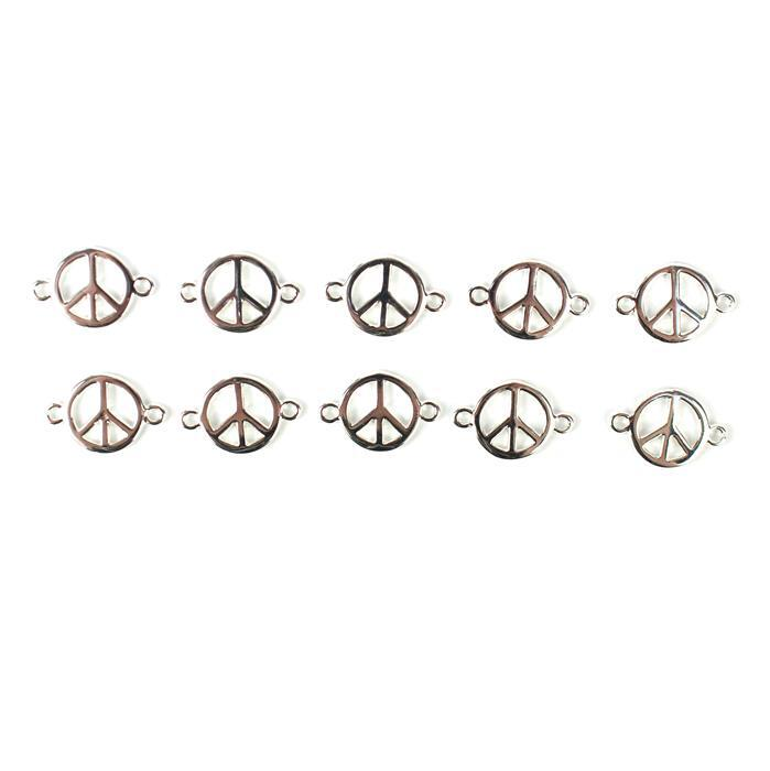 Silver Plated Base Metal Peace Connectors, Approx 18x12mm (10pcs)