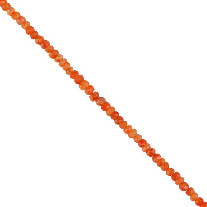 35cts Carnelian Graduated Faceted Rondelles 2x1 to 4x3mm, 30cm Strand.