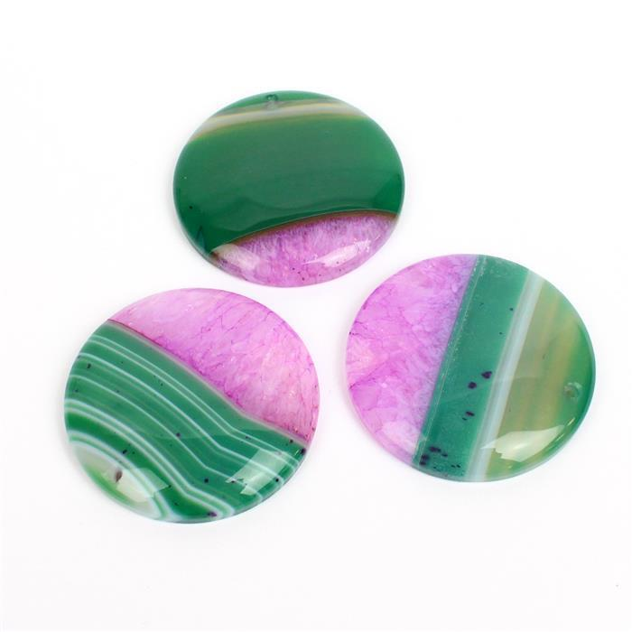 Triple Coins! Inc; 80cts Green and Fuchsia Quartz Agate Coin Pendant Approx 40mm,1pk