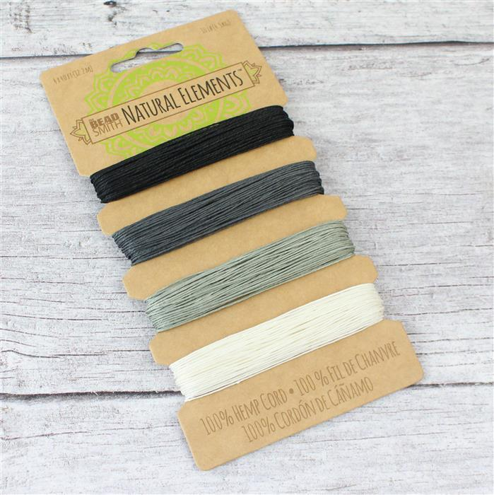 Beadsmith Hemp 4 Colour Card - Onyx Shades, 0.55mm