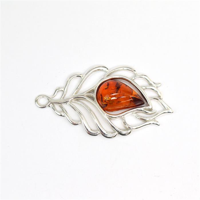 Sterling Silver Baltic Cognac Amber Feather Pendant Approx 22x40mm