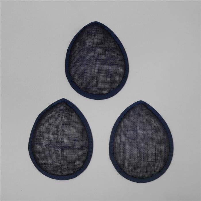 Cambric Fascinator Bases Navy Teardrop - 13.5cm (3pcs/pk)