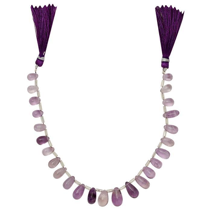 85cts Amethyst Graduated Plain Drops Approx 7x4 to 13x7mm, 20cm Strand.