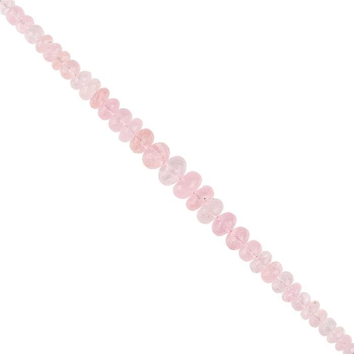 58cts Morganite Graduated Faceted Rondelles Approx 2x1 to 9x5mm, 12cm Strand.