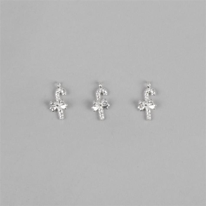 925 Sterling Silver Candy Cane Charm Approx 12mm, 3pcs