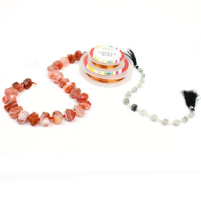Electric Clementine: Red Agate Faceted Nuggets, Black Rutile Quartz Cubes & Wire