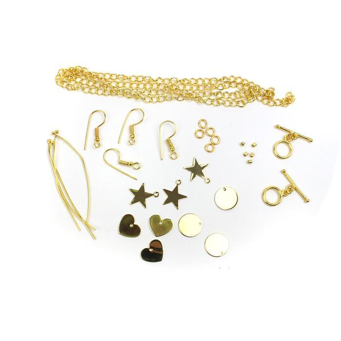 Gold Personalised Jewellery Collection: Star, Heart & Circle Blanks (9pk) & Findings