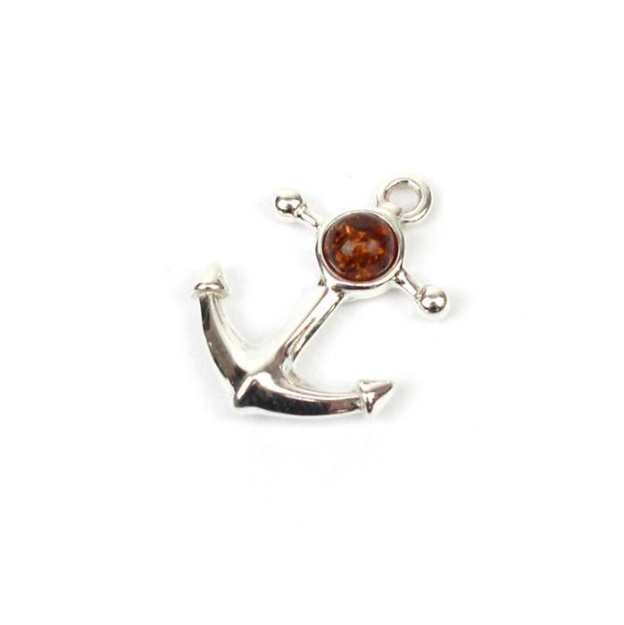 Baltic Cognac Amber Anchor Charm Approx 16mm Sterling Silver