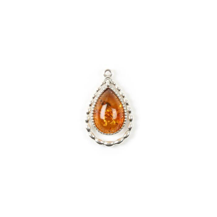 Baltic Cognac Amber Sterling Silver Drop Pendant - 26x16mm