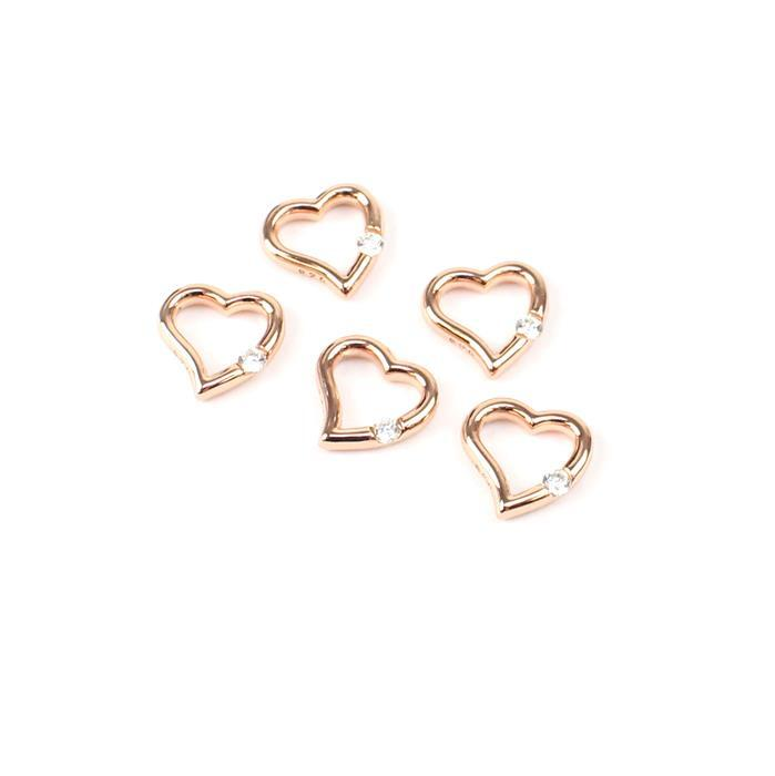 Rose Gold Plated My CZ Heart Charms 925 Sterling Silver 10mm 5pk