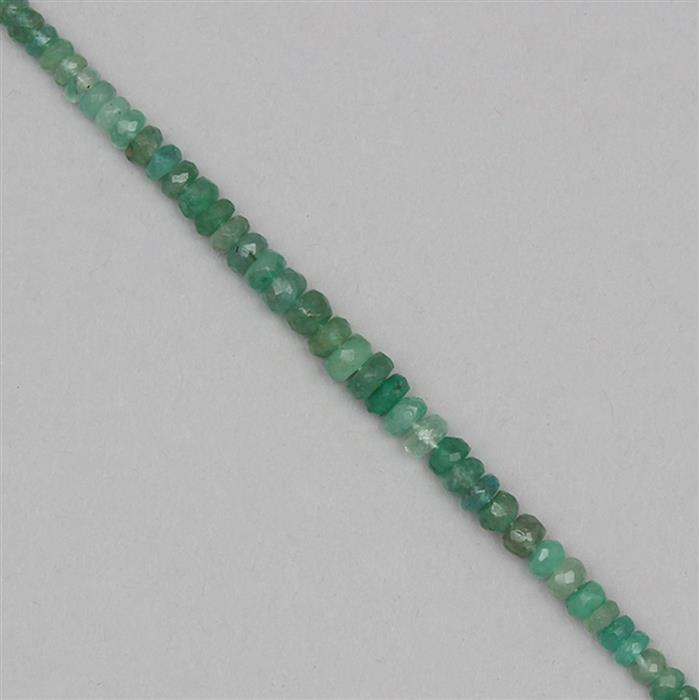 50cts Zambian Emerald Graduated Faceted Rondelles Approx 2x1 to 5x2mm, 50cm Strand.
