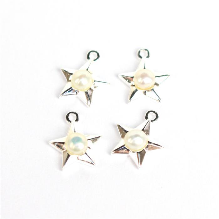 925 Sterling Silver Stars Charms With Freshwater Pearls Approx 9x7mm (4pcs)