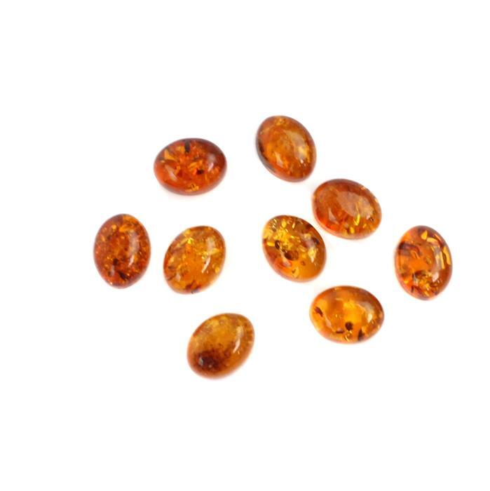 9pcs Amber Late Show Deal! Inc; 3 x Baltic Cognac Amber Oval Cabochons Approx 9x7mm (3pcs)