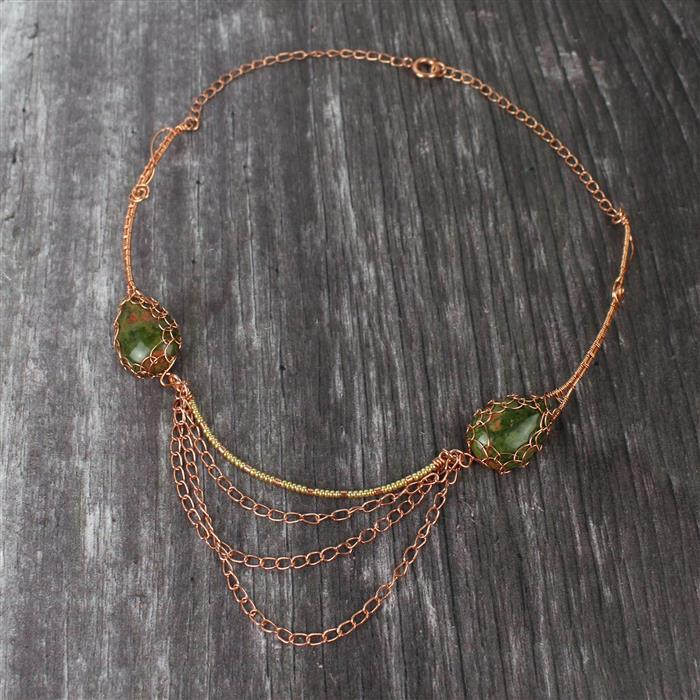 Drops of Gold: Unakite Teardrop Cabochons, Galvanised Gold seedbeads with wires & findings