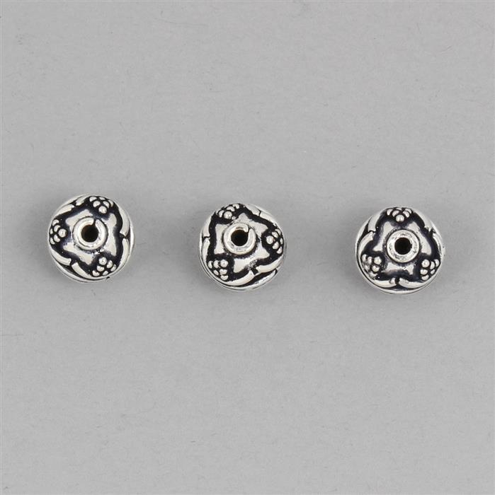 925 Sterling Silver Oxidised Bali Beads Approx 9mm (3pcs)