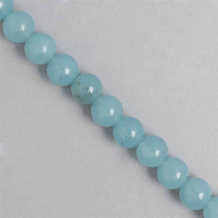 250cts Blue Colour Dyed Quartz Plain Rounds Approx 9mm, 35cm Strand.