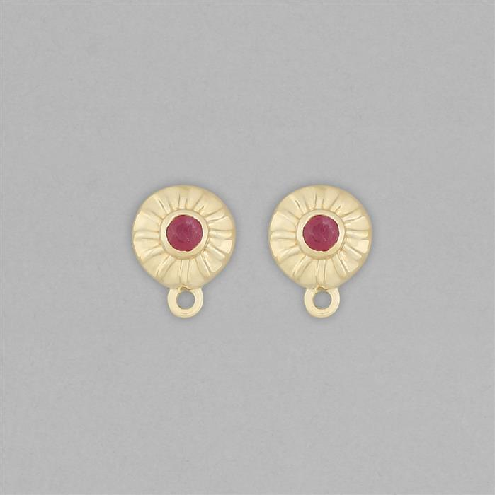 Gold Plated 925 Sterling Silver Stud Earrings with Loops Approx 11x8mm Inc. 0.30cts Ruby Round Approx 3mm