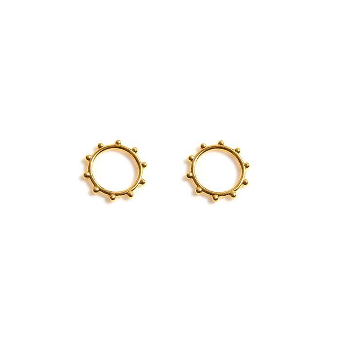 Gold Plated 925 Sterling Silver Beaded Ring Charms Approx 8mm, 2pcs
