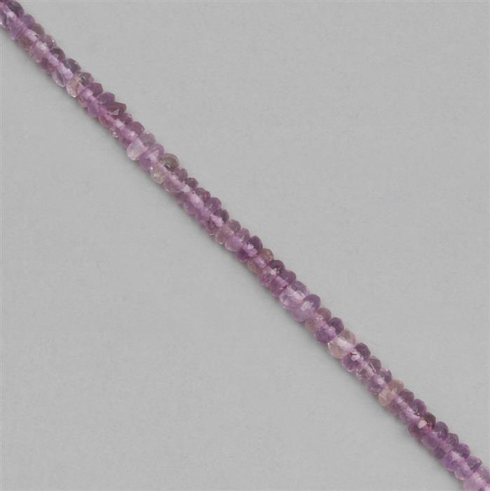 145cts Pink Amethyst Graduated Faceted Rondelles Approx 2x1 to 5x2mm, 1 Metre Strand.