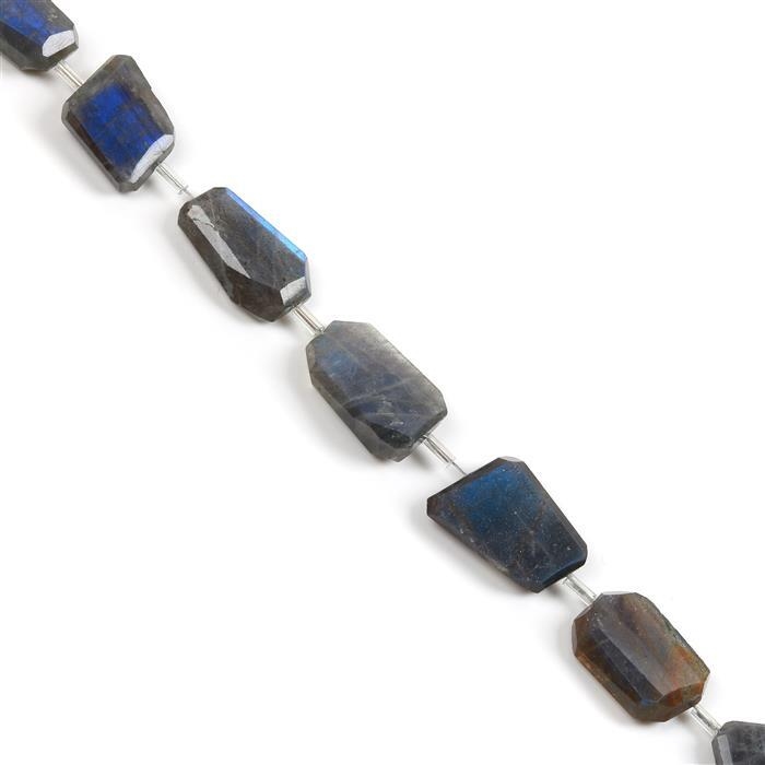 116cts Labradorite Graduated Faceted Nuggets Approx 9x6 to 17x10mm, 20cm Strand.