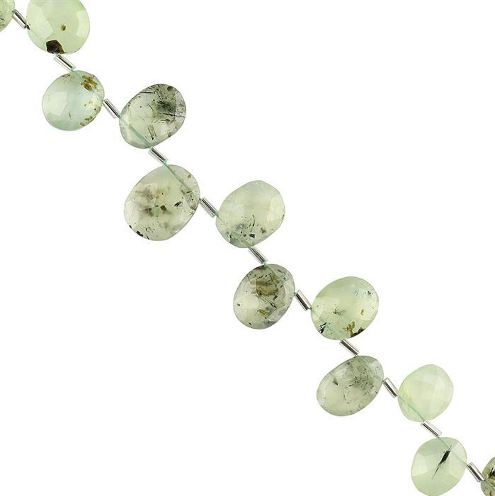 106cts Prehnite Graduated Faceted Fancy Shape Approx 11x9 to 17x12mm, 20cm Strand.