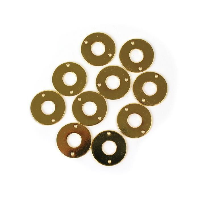 Gold Colour Base Metal Hollow Circle Connector, Approx 17mm (10pcs)