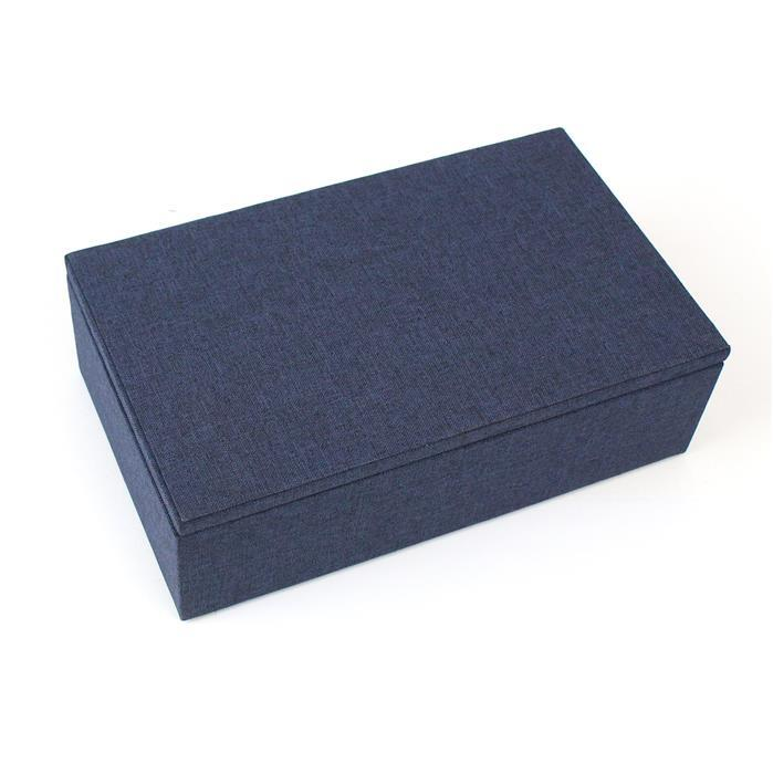 Lund London Classic Navy Jewellery Box Approx 19 x 11.5 x 5.5cm