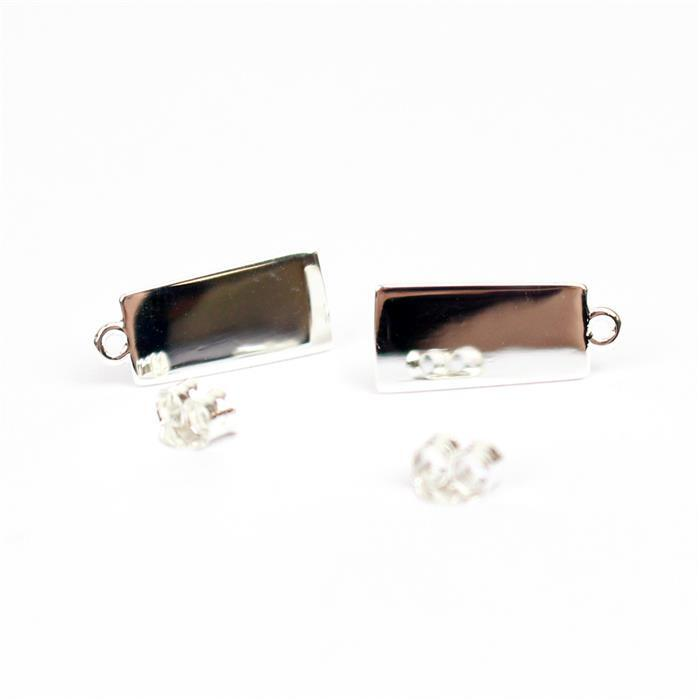 925 Sterling Silver Square Earring with butterfly Approx 6x15mm