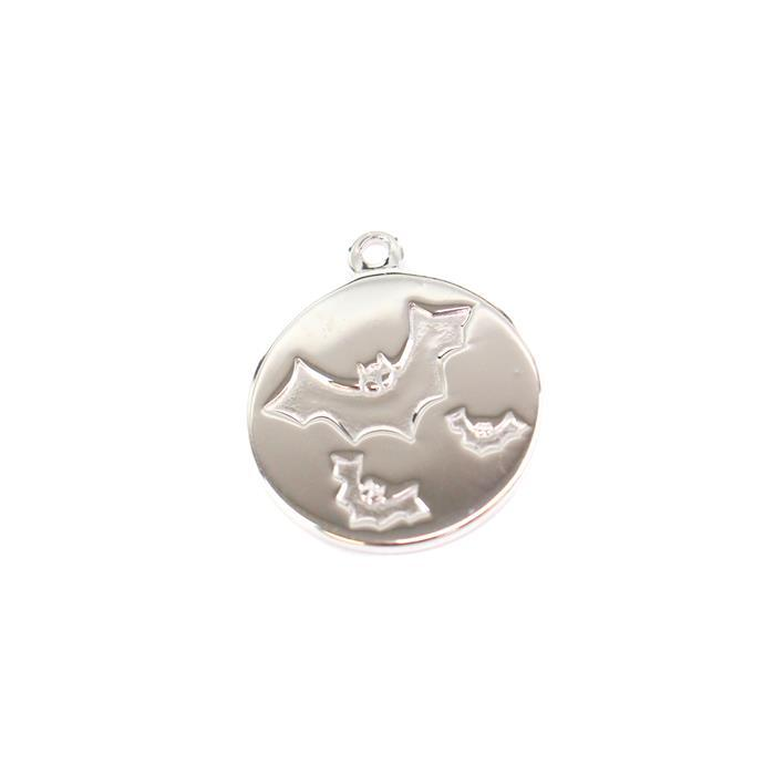 925 Sterling Silver Round Bat Charm Approx 15mm, 1pcs