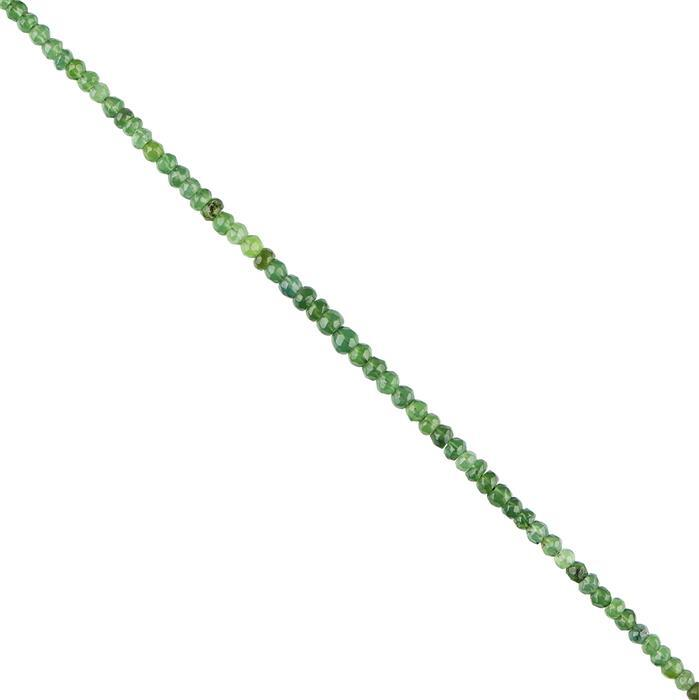35cts Green Serpentine Graduated Faceted Rondelles Approx 2x1 to 4x3mm, 30cm Strand.