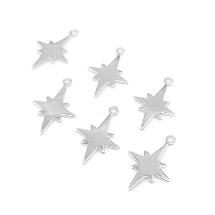 Silver Plated Base Metal North Star Pendants Approx 24x17mm (6pcs)