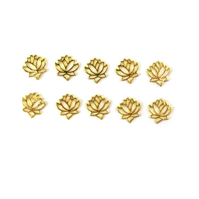 Gold Colour Base Metal Lotus Flower Charms, Approx 13x12mm (10pcs)
