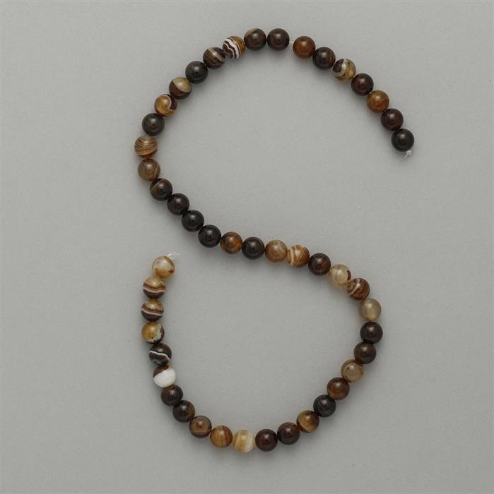 175cts Shaded Brown Agate Plain Rounds Approx 8mm, 47cm Strand.