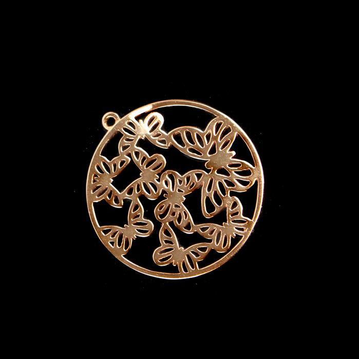 Rose Gold Plated 925 Sterling Silver Filigree Butterfly Kaleidoscope Circle Pendant Approx 30mm 1pc