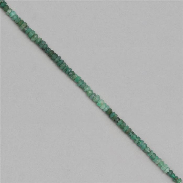 15cts Shaded Emerald Graduated Faceted Rondelles Approx 2x1 to 4x2mm, 19cm Strand.
