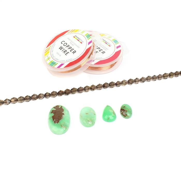 Forest: Smokey Quartz bicones, Bi-colour Chrysoprase multi-shape cabs & rose gold wires